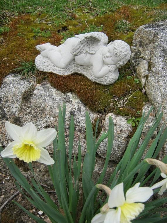 Angel Statue, Cherub, Concrete Angel, Angel Child Sleeping, Concrete Figure, Cement Garden Angel, Garden Statues, Garden Decor, Headstone.