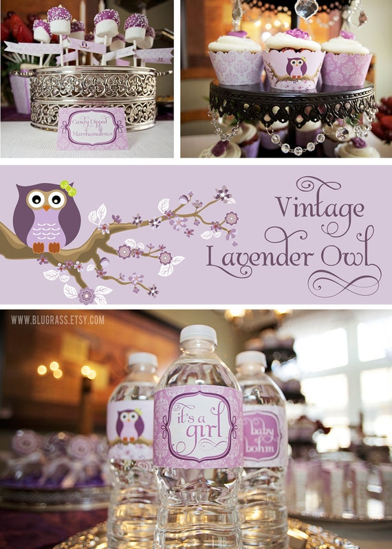 DIY printable baby shower or birthday party package - vintage owl