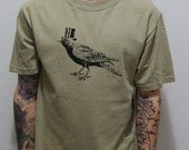 Mens Screen Printed Bird with Hat Shirt