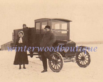 Old Truck  w/couple in Montana snow Early Photo