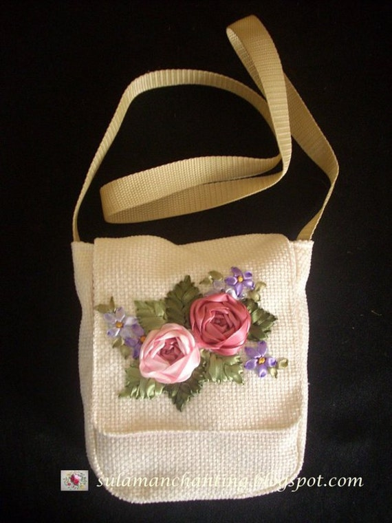 Ribbon embroidery purse beautiful silk roses