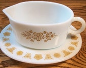 Vintage Pyrex Butterfly Gold Gravy Boat and Liner