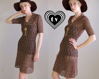 vtg 70s Chocolate Brown SHEER CROCHET cut out DRESS knit xs/s gypsy festival hippie