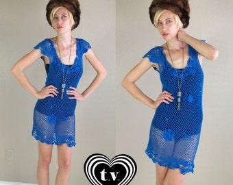 vintage 70s Bright Blue sheer CROCHET cut out MINI DRESS gypsy xs/s hippie boho festival