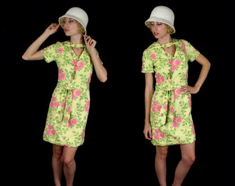 vtg 60s yellow EMBROIDERED FLORAL mini DRESS xs/s cut out space age mod pink