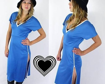 vtg 80s plunging OPEN BACK avant garde DRESS zippers Med blue jersey disco
