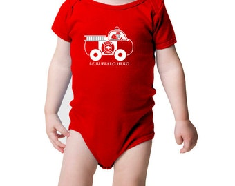 Baby Infant One Piece Bodysuit Onesie Firefighter and Firetruck Buffalo Hero Cute Red