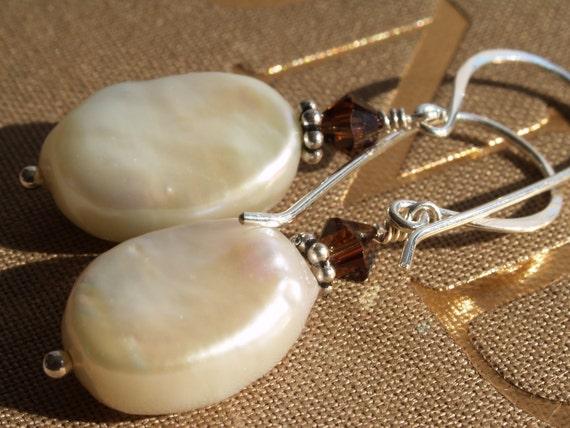 Dangle Earrings, Creamy Mabe Pearl, Mocha Crystal, & Sterling, Freshwater Pearl, Crystal, Sterling Spacer, Under 50, Gift, Wedding