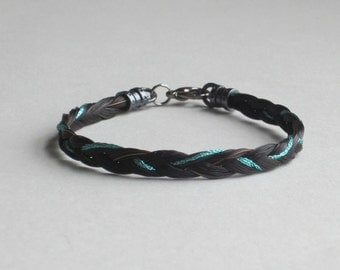 Three-strand Black Braided Horse Hair Bracelet with Accent Thread