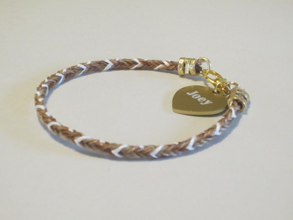 Horse Hair Bracelet With Colored Strands and Custom Tag