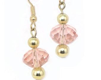 Handmade Vintage Beads Beaded Light Pink Earrings, dangle pink earrings, earrings made with vintage beads, upcycled pink earrings