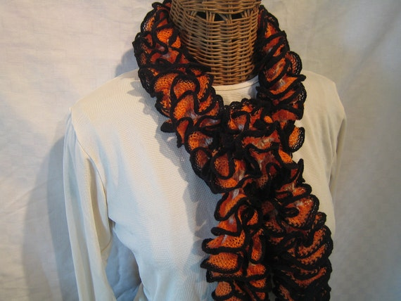 Hand Knit Philadelphia Flyers Hockey ruffle knitted scarf Orange Black Sand Halloween Flyers Merchandise Apparel