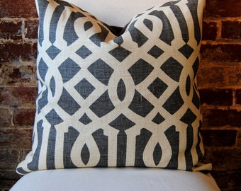 """SALE - Last Few. Decorator Fabric - Imperial Trellis  in Midnight by Schumacher -  Pillow Cover 20""""x20"""""""
