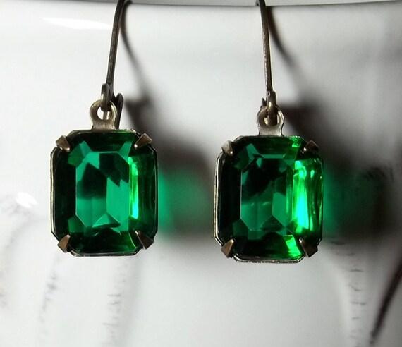 Rhinestone Earrings Vintage Emerald Green Glass Rhinestone Earrings May Birthstone Gift Idea Prom Wedding Bridal Formal Casual Summer