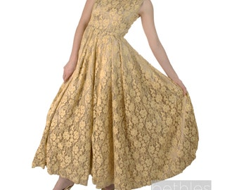 1950s Gold Dress Cocktail Dress Gold Lace and Satin Long Dress Sleeveless Gown Vintage 50s Lace Prom Dress