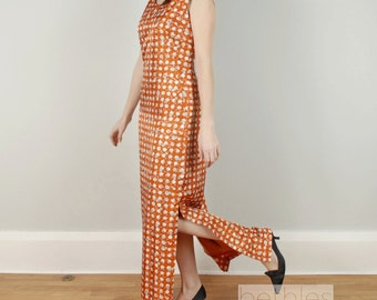 1960s Dress Maxi Dress Long Dress Sleeveless Maxi Dress Pumpkin Orange Dress Hostess Gown Vintage 60s Dress Shift Dress Print Maxi Dress