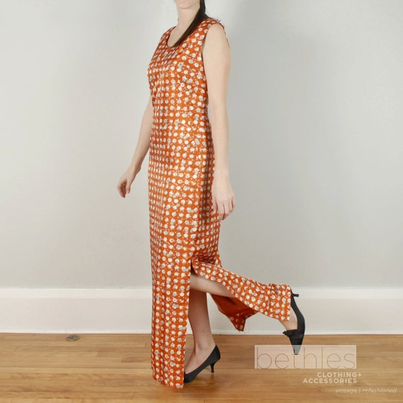 1960s Dress Maxi Dress Long Dress Sleeveless Maxi Dress Pumpkin Orange Dress Hostess Gown Vintage 60s Dress Shift Dress Print Maxi Dress