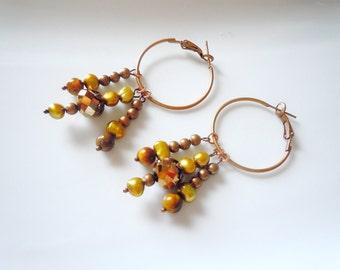 Caramel crystal copper earrings E150