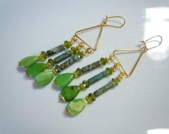 Sunny green fields handmade chanedlier earrings  E221