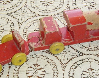Vintage 1950s Wood Toy Train Chad Valley Collectible Railroad Memorabilia Red and Yellow Wooden Toy