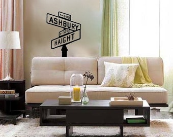 Haight Ashbury Street Sign vinyl Wall DECAL- San Francisco interior design, sticker art, room, home and business decor