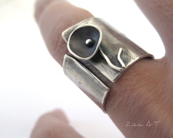 Wide Band  Silver Ring, Sterling Silver Wide Band Flower Ring, Silver Wide Band Ring