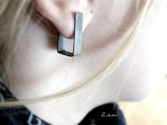 Minimal silver stud earrings, balck studs, oxidized stud earrings, modern gift for her
