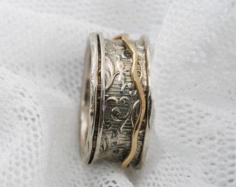 Spinner ring. Sterling silver gold spinner ring. floral spinner ring, gift for her. Wide spinner ring. Curvy ring (gsr-7063-959)