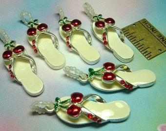 Cherry Pendant Flip-Flop Rhinestone Charm Cherries 1 piece