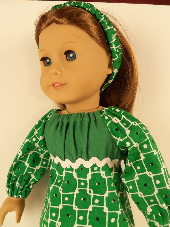 American Girl Doll Clothes, Green Dots and Squares Peasant Dress Fits 18 Inch Dolls - EM067