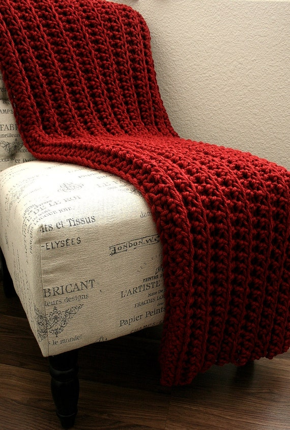 Ready to Ship   sale   WEST BAY THROW Red - Soft, warm, cozy, perfect gift for wedding, housewarming, anniversary, holidays or for your home