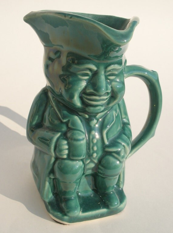 Teal Ceramic Toby Mug Creamer Pitcher Made in USA Pottery Colonial Americana Patriot Tavern Man Folk Style Mantique