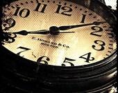 "Street Clock, Face, Antique, Photography Print, 8""x 10"" + More Sizes, Black, Ironwork, Tick Tock, Bar Harbor Maine, Home Decor, Wall Art"