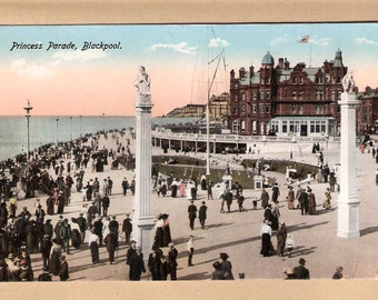 an ANTIQUE POSTCARD Princess Parade Blackpool Lancashire antique English vintage postcard