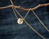 gold rutilated quartz drop necklace - semi precious gemstone - delicate necklace for bridal or everyday
