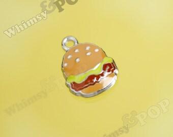 1 - SALE Hamburger Cheeseburger Enamel Kawaii Foodie Charm, Hamburger Charm, Cheeseburger Charm (3-5A)