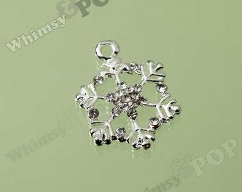 1 - Silver Tone Clear Diamante Wintertime Snowflake Rhinestone Pendant Charm, Snowflake Charm, Christmas Charm, 20mm x 23mm   (3-1E)