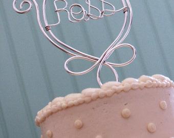 Fleur de Lis Custom Name Wedding Cake Topper