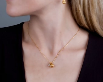 Pearl Gold Earings, Drop Pearl Earrings, Dangle Gold Earrings, Wedding Earrings, Bridal Jewelry, Delicate Earring, Romantic Jewelry, Elegant
