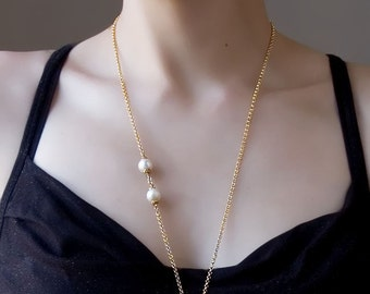 Heart Necklace; Long Gold Necklace; Personalized Jewelry; Layering Necklace; Pearl Jewelry; Simple Bride Jewelry; Bridesmaid Gold Necklace