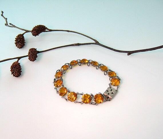 Art Deco Bracelet Sterling Silver Open Back Topaz Amber Crystals 1930s Vintage Czech Jewelry