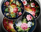 Zhostovo Trays - Digital Collage Sheets CG-408 - 3.451in, 2.625in, 1.629in and 1.313in - Printable Images for Buttons, Mirrors, Crafts