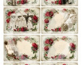BOUDOIR ROSES - ATC cards - Set of 8 Romantic and rose red Cards - Collage sheet  - Digital download