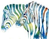 PRINT / Green Blue Zebras