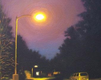 Cityscape Art Print, Night View nocturnal landscape oil painting reproduction, purple mauve black wall art