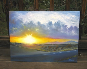 Sunset Landscape painting, original skyscape oil painting, blue and yellow wall art