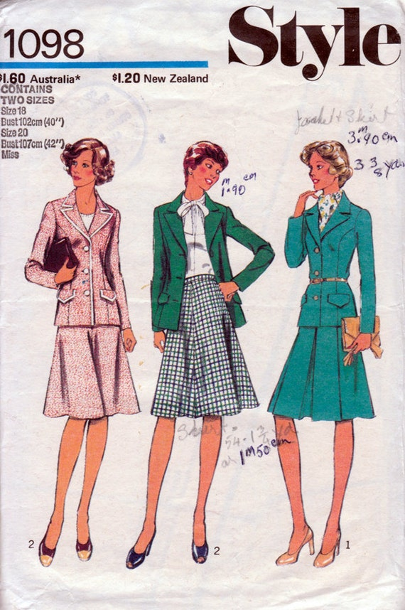 1970s Jacket & Skirt Suit Vintage Sewing Pattern in Two Sizes - Style 1098 Bust 40 and 42