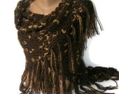 brown crocheted shawl ,  women ,stole ,wrap, crochet brown shawl, scarf, for her, accessory, crochet trends,poncho,spring trends,All Seasons