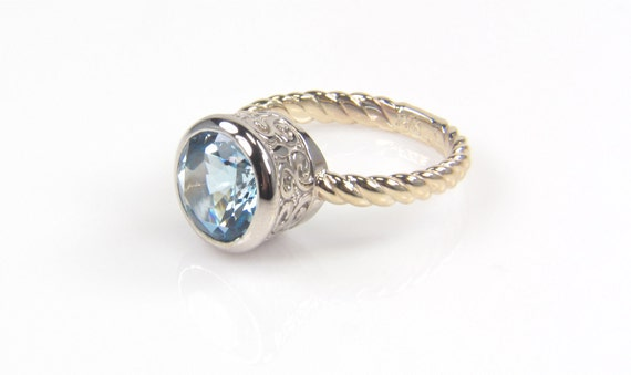 Aquamarine ring-Aquamarine 14K White and Yellow Gold Ring - Fine Jewelry - Gemstone Ring-two tone ring