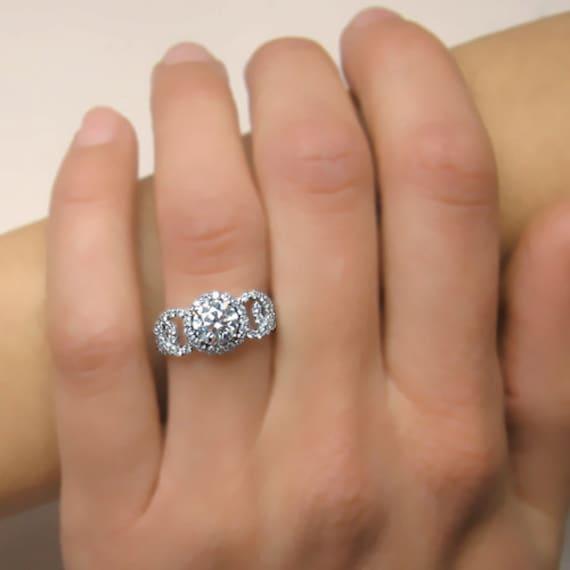 Round Shape Halo Diamond Engagement Ring 14k White Gold or Yellow Gold Art Deco Diamond Ring